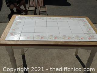"""White Tile Table  30"""" x 47"""" x 30 """""""