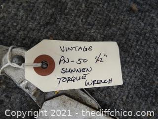 """Vintage  PN/ 50 1/2""""  Sunnen Torque Wrench"""