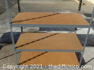 "Metal Shelf  6ft x 22 1/2"" x 48 1/2""  with wood"
