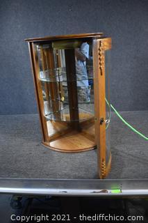 Corner Lighted Display Cabinet w/key