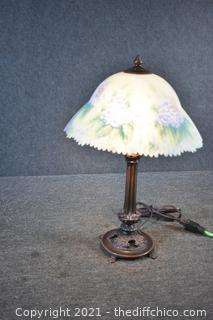 Signed Working Lamp w/Hand Painted Shade