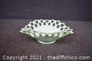Jadite Glass Lace Dish