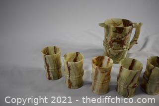 Soap Stone Pitcher plus 6 Cups