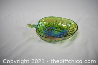 Green Grape Carnival Glass Dish