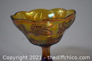 Carnival Glass Pedestal Bowl