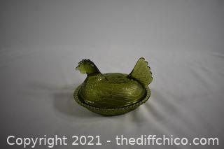 Vintage Green Glass Hen on Nest Candy Dish