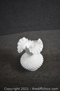 Fenton Ruffle Milk Glass Hobnail Vase