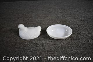 Vintage Milk Glass Hen on Nest Candy Dish