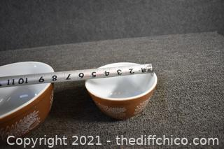 2 Pyrex Brown and White Bowls