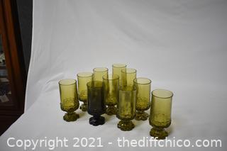 10 Vintage Green Glasses