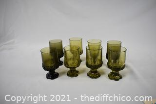 8 Vintage Green Glasses