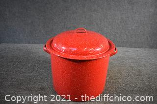 Red Tinware Stock Pot w/lid