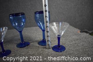 4 Cobalt Blue Glasses