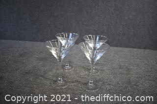 4 Martini Glasses