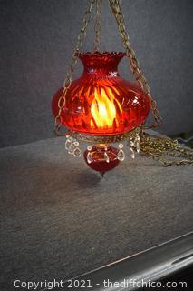 Working Vintage Red Hanging Lamp
