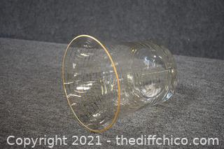 Gold Trimmed Glass Ice Bucket