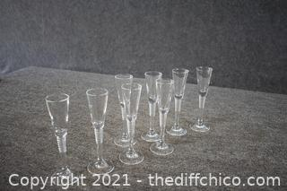 8 Liqueur Crystal Glasses