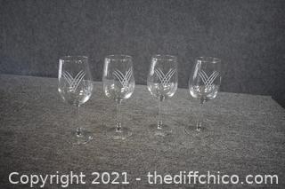 4 Crystal Wine Glasses