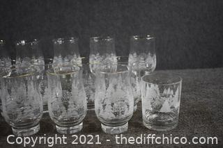 18 Etched Glasses