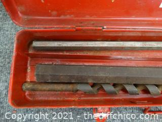 Large Drill Bits In Red Metal Case