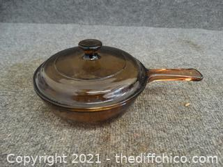 Brown Glass Pot With Lid