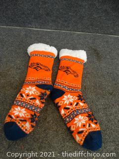 Denver Broncos Fuzzy Slippers