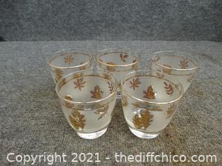 Small Glasses With Gold Leaves