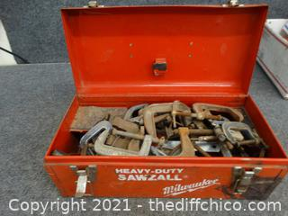 Red Milwaukee Tool Box With C-Clamps