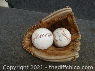 Baseball Glove & 2 Baseballs