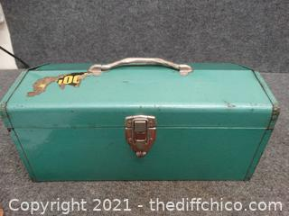 Metal Green Tool Box With Contents