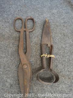 Vintage Sheep Shears, & Tin Snips
