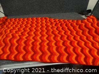 """Red , Orange Afghan 66"""" x 32"""""""