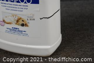 Pet Carpet Shampoo-line in picture shows how full