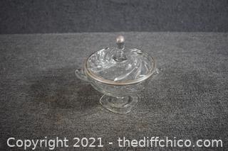 Glass Dish w/Silver Trim