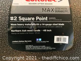 "Corona #2 Square Point Shovel 14Gge 48"" Ash Wood Handle (J6)"