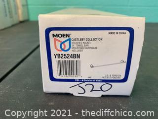 """Moen YB2524BN  Castleby Brushed Nickel 24"""" Towel Bar (J20)"""
