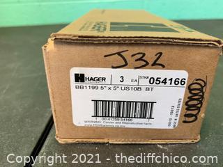 "QTY 3 - Hager BB1199US10B 5"" x 5"" Hinges (J32)"
