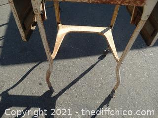 """Vintage Rolling Metal Side Folding Table 26"""" x 14 1/2"""" side out 36"""""""