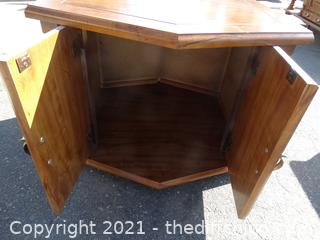 """Octagon Wood Table with Storage  19 1/2"""" x 31"""""""