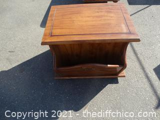 """Wood Side Table With Magazine Holder 20"""" x 27"""" x24 """""""