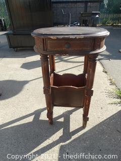 """Decretive Side Table with Drawer & Book Holder  28 1/2"""" x 15 """"x 18 1/2"""""""