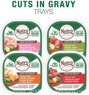 24 PACK - Nutro Cuts in Gravy Grain Free Wet Dog Food Adult & Puppy, 3.5 Oz Trays