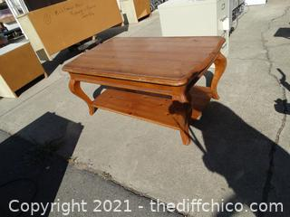 "Wood Coffee Table  22 1/2"" x 49  1/2"" x 30 1/2"""