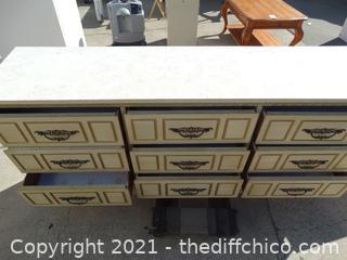 "9 Drawer Dresser With Mirror  29"" x71"" x 7  3/4"" w/ mirror 46 1/2""  w 30 "" mirror"