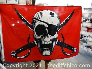 """Skull Decor Flag 57 1/2"""" x 32"""""""