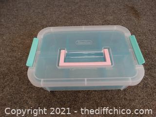 """Sterilite  Divided Container With Lid 10 1/2"""" x7"""" x 3"""""""