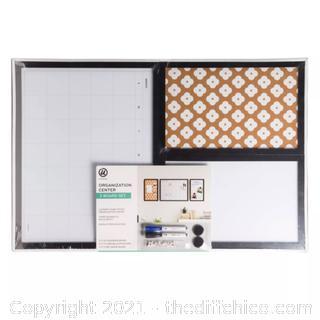 NEW U Brands 3pc Cork Board Organization Center Abstract Terracotta/Black Frame