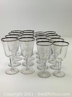 VERY NICE Set of 18! VINTAGE Lenox Crystal Solitaire Barclay Collection, Wine/Water Gobblet glasses w/ Platinum Trim