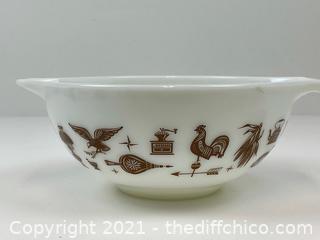 Vintage Pyrex Mixing Bowl Set Early Americana Brown White Cinderella Nesting