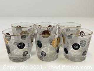 VERY NICE Vintage Set of 6 Lo-Ball Glasses with Gold Trim